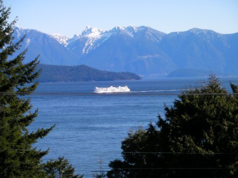 Ferry and the mountains