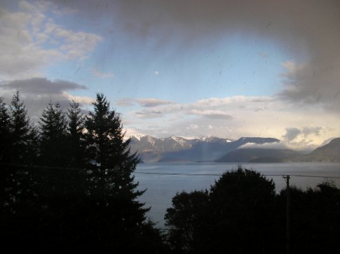 Snowstorm approaching over Howe Sound