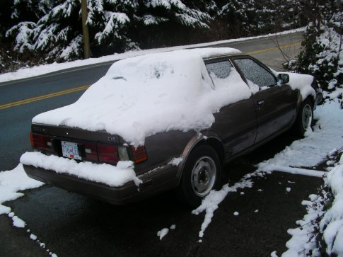 Our poor snow-covered car!