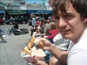 Simon eating famous clam chowder at Fisherman's Wharf. Dispite the expression it's really quite good.: by bec-simon, Views[330]