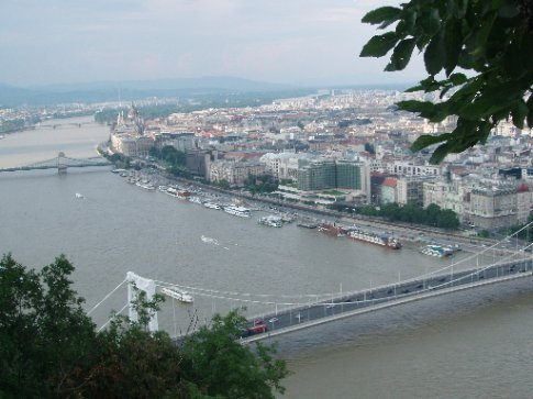 Mass of cruise ships docked on the Danube. To get to your ship you just climb across all the others.