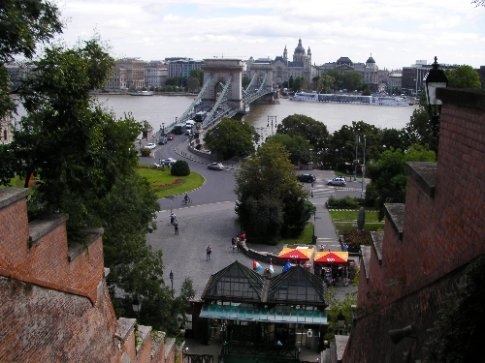 Looking over the chain bridge
