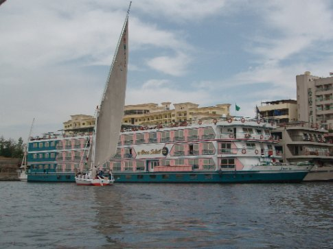 Our crusie ship on the Nile, the Beau Soleil. Also known as the gayest looking ship on the Nile