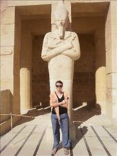 Bec and a statue in the temple of Queen Hatshepsut. I don't know which one is which: by bec-simon, Views[404]