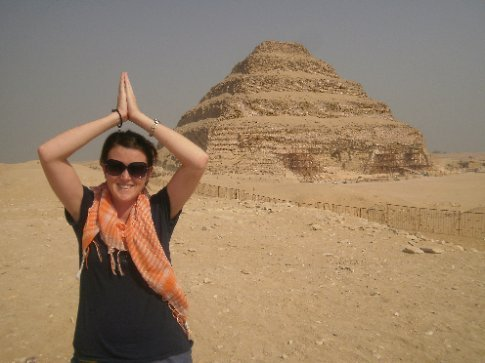 Bec trying to look Egyptian...or like a pyramid