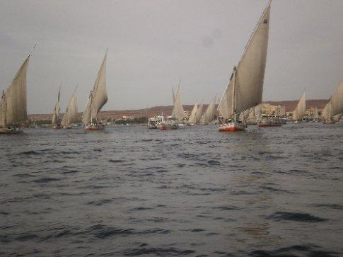 Stupid amount of tourist felucas on the Nile