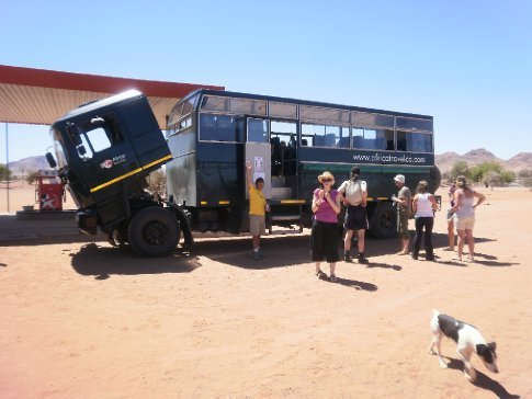 Our truck broken down in the middle of the Namibian desert, we had to camp there the night