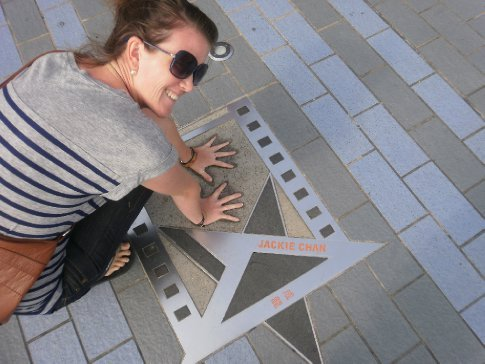 Bec at the Jackie Chan star on the walk of stars...Jackie Chan is not from Hong Kong :(