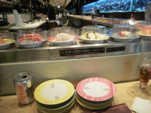 We ate at a sushi restaurant that you just pick up your food as it goes by on a conveyor belt
