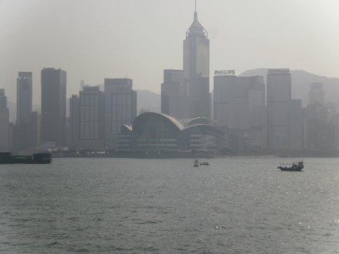 Hong Kong island during the day through the smog