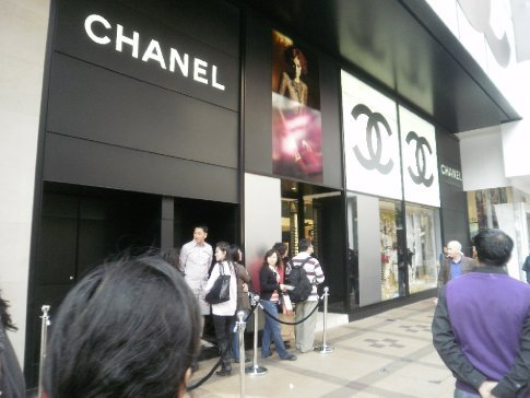 The line up to get into Chanel. It even had a bouncer at the front door