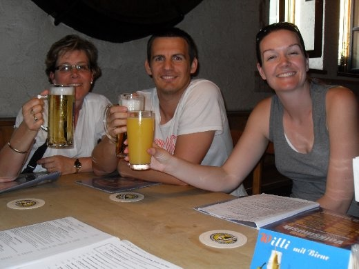 Carol, Simon and Sarah at the Augustinerbraeu