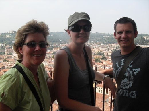 Carol, Sarah and Webby at the top of a tower in Verona