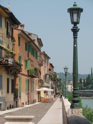 Walkway along river in Verona