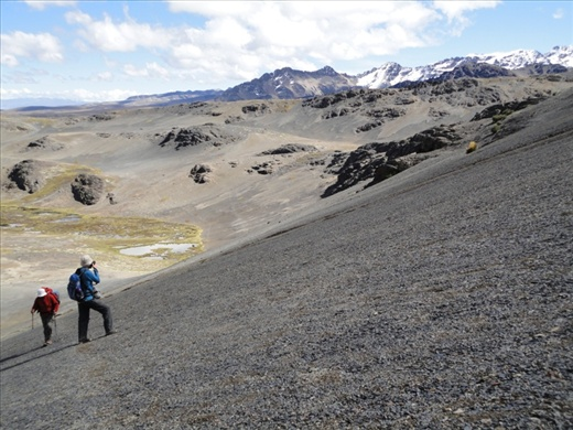 Day 2: Hard work walking up scree slopes at 5,000m, stopping for photo/rest