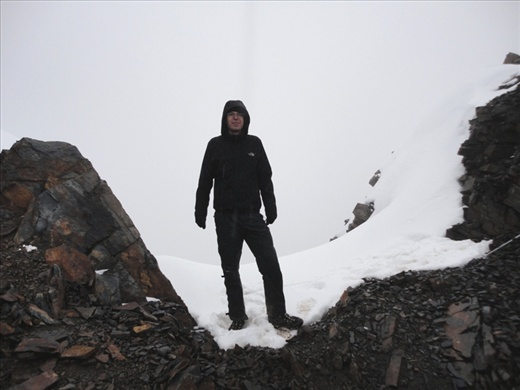 Day 3: Phil at 5,300m. In the clouds rather than fantastic views!
