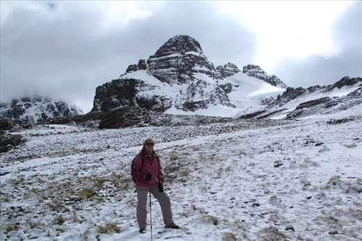 Day 4: Beckie in the snow near the top of the last pass