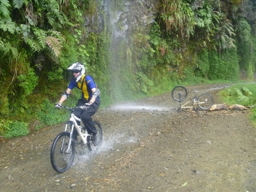 World's Most Dangerous Road - you have to cycle through a few waterfalls.