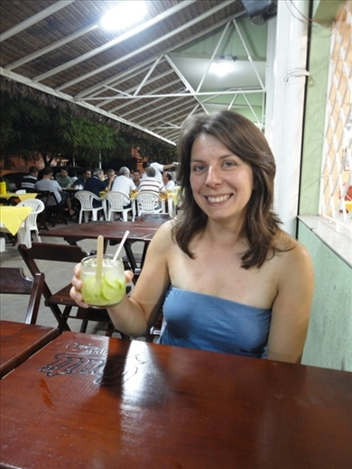 Welcoming ourselves into Brazil with a Caipiriña or 2
