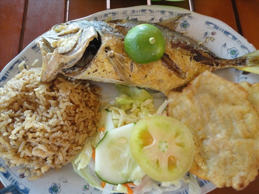 A typical Colombian meal - fish and rice, with a bit of salad and fried plantain