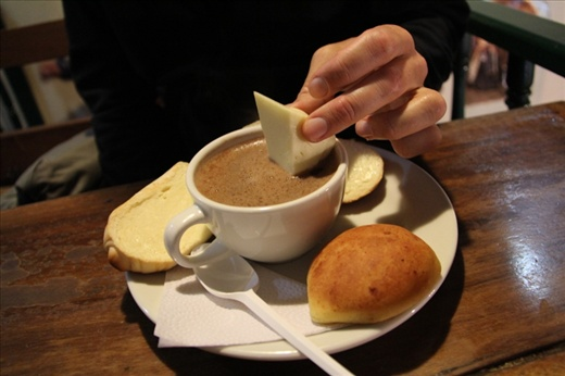 Bogota specialty - dip your cheese into your hot chocolate!
