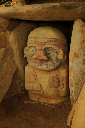 Ancient stone statues at San Agustin . This one was exceptional as it had been painted.