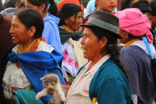 Local ladies with a kitten for sale, Otavalo animal market