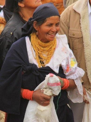 Woman selling guinea pigs, Otavalo animal market