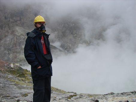 Phil at White Island volcano, 50km into the Bay of Plenty