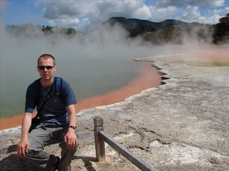 Phil at the Champagne pool, thermal park in Rotorua