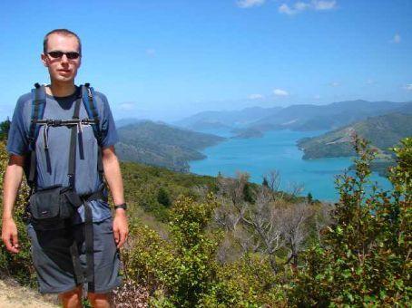 Phil overlooking Pelorous Sound (Marlborough Sounds)