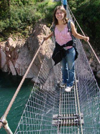 Beck on Buller Gorge swing bridge (the longest in NZ)