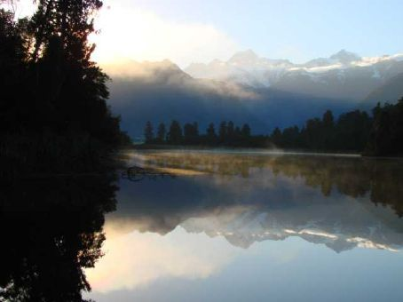 Mt.Tasman and Mt.Cook from Lake Matheson at sunrise