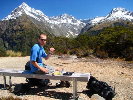 A scenic lunch spot on Key Summit, Day 3 of the Routeburn Track