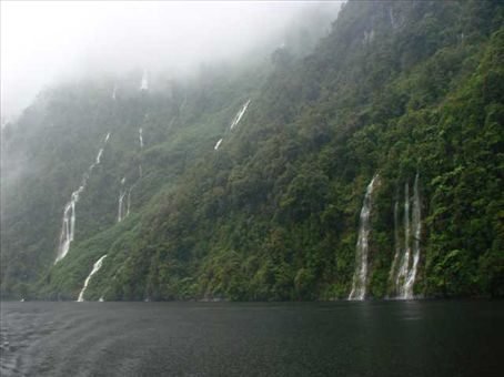 Doubtful Sound - thousands of temporary waterfalls cascading down the cliffs in the rain