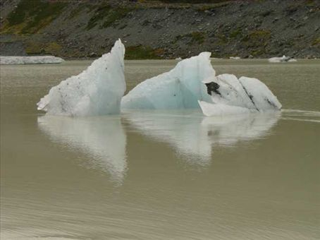 Chunks of ice floating in Hooker Lake, Mount Cook National Park