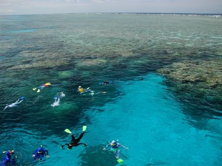 Snorkellers at the Outer Reef (just before we jumped in too!)