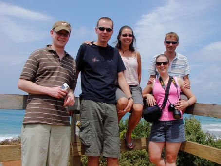 Us with Clare, Michael and Sam at Split Point Lighthouse, Great Ocean Road