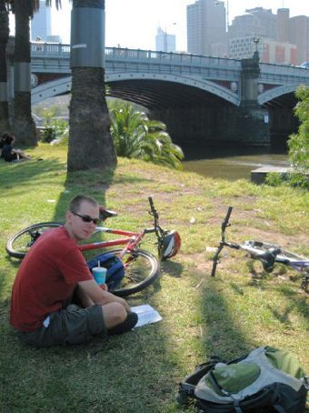 Phil with bikes by the Yarra River in Melbourne