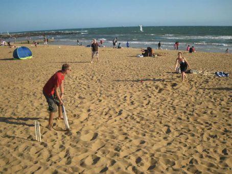 Beach cricket at Williamstown Beach