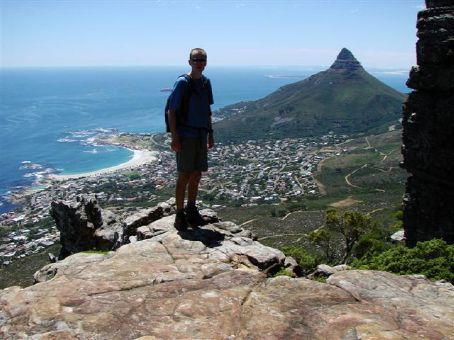 View of Lions Head and Camps Bay from Table Mountain