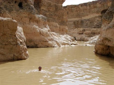 Swimming in Sesriem Canyon