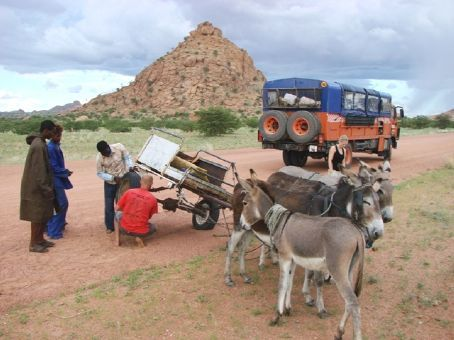 Stopping to help troubled locals, Namibia