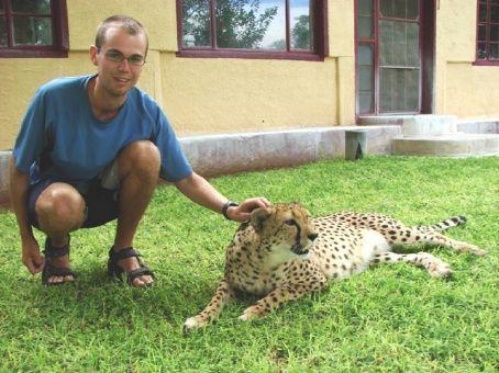 Phil with Cheetah, Cheetah Park, Namibia