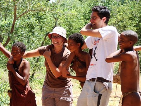 Playing games with the locals, San Bushman visit