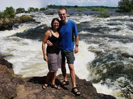Us at the top of Victoria Falls, Zambia