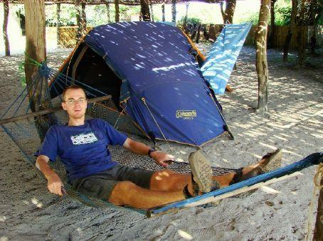 Phil relaxing at Kande Beach, Lake Malawi