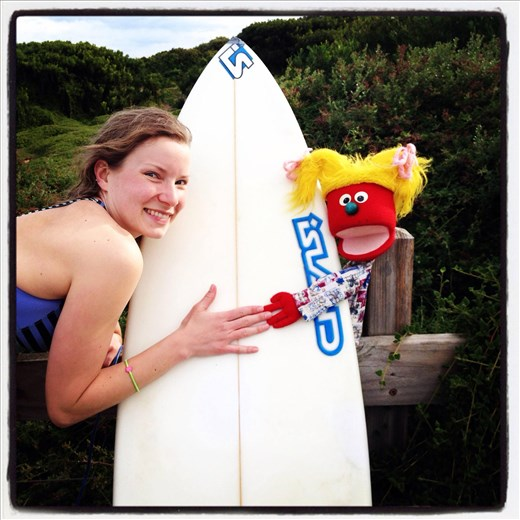 Surfing on Phillip Island with Faith the puppet