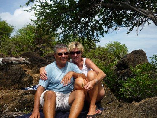 Deb & Jim watching the races at  Antigua classics week