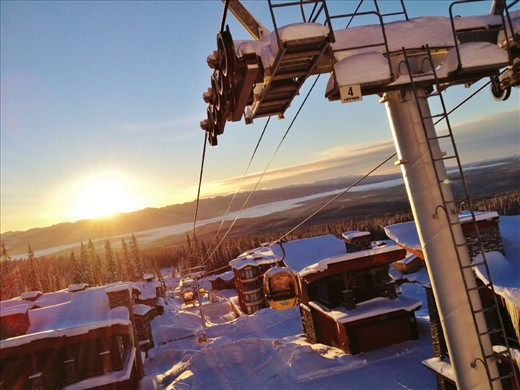 Riding the gondola down to breakfast on this absolutely beautiful bluebird day.